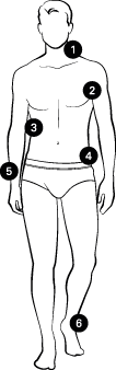 Illustration of a man with measuring points at 1. Neck, 2. Bust, 3. Waist, 4. Hip, 5. Sleeve, 6. Inside Leg